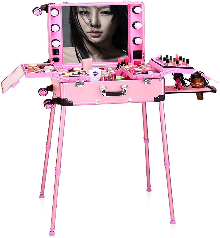 XUE Trolley Makeup Case, Hochleistungs-Kosmetiktasche mit Vollbild-LED-Spiegel und beleuchteter Zugstange Universal Wheels Toolbox mit verstellbaren Beinen für Künstler