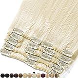 8'-24' Extension a Clip Cheveux Naturel Rajout 100% Vrai Cheveux Humain Remy - Volume Moyen 8 Pcs (#60 Blond platine, 25cm-70g)