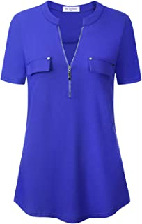 Bulotus Women's Zip Front V-Neck Short Sleeve Work Casual Top Blouse Shirt (Solid and Floral)