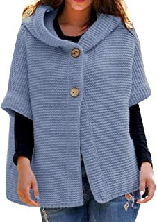 Plus Size Women Hooded Sweater Cardigans Winter Half Sleeve Solid Color Knit Hoodies Button Cardigan Outwear Coats