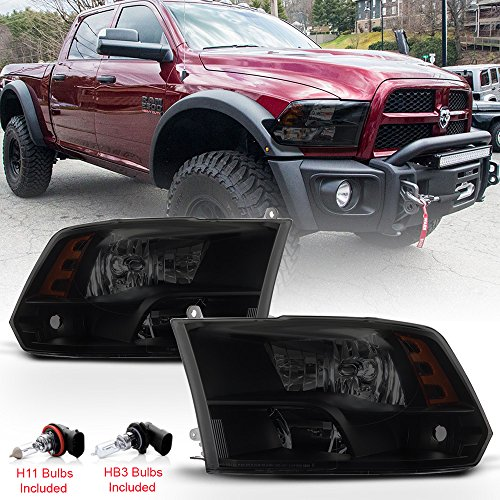 ACANII - For 2009-2018 Dodge Ram 1500 2500 3500 Black Smoke Dual/Quad Beam Headlights Headlamps w/Bulbs Pair Left+Right