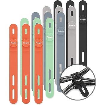 【Ringke】ケーブルバンド シリコン ケーブルホルダー ケーブル まとめ 結束バンド 繰り返し利用可能収納バンド カラフル ホルダー ストラップ Cable Tie Silicone [5 Color/セット]