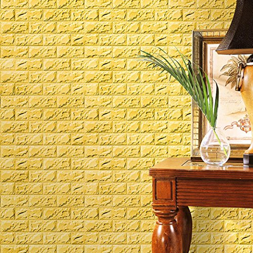 3D Wallpaper,New PE Foam 3D Wallpaper DIY Wall Stickers Wall Decor Embossed Brick Stone (Yellow)