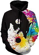 CharMma Men's Halloween Wolf Print Long Sleeves Pullover Hoodie Sweatshirt