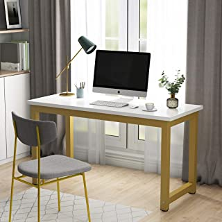 Tribesigns Modern Computer Desk, 55 inches Large Office Desk Computer Table Study Writing Desk for Home Office, White Gold Metal Frame