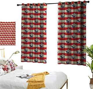 MartinDecor USA Decor Curtains by Nostalgic Independence Day Poster Pattern with Large Stars Western Graphic W55 x L39,Suitable for Bedroom Living Room Study, etc.