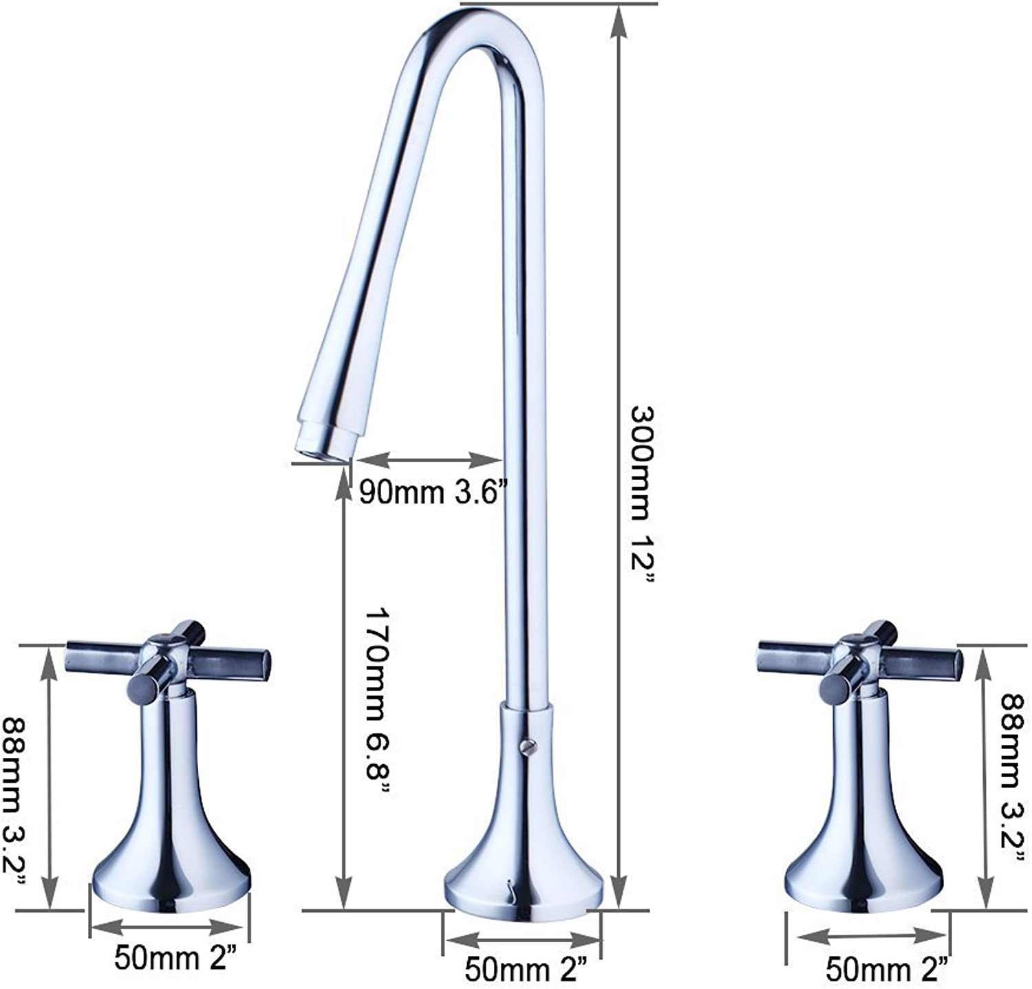 Modern Bath Rooms of 3-pcs Wide Spread fauce Glass Chrome tap Water of Polish wash Basin Fittings Fittings Fittings