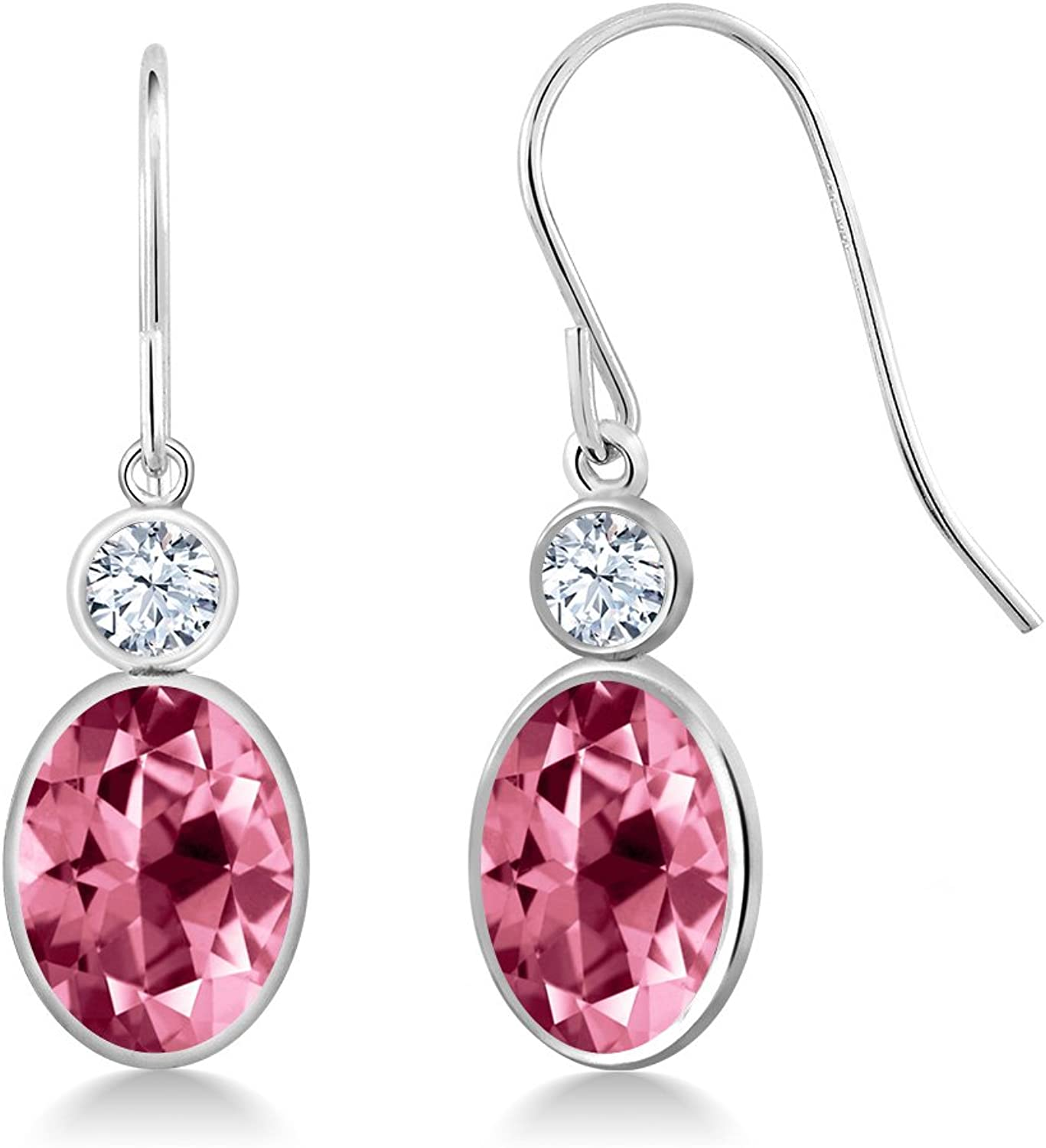 2.90 Ct Pink 14K White gold Earrings Natural Topaz Cut by Swarovski
