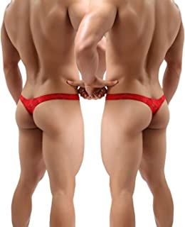 Men's Thong Underwear, Men's Lace Thong Underwear, No Visible Lines, Men's Lace Thong G-String Undie