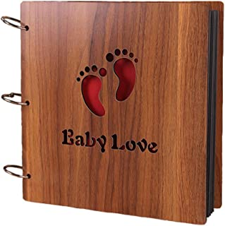 """MINGZE Joli Album Photo DIY Scrapbook, en Bois Ciselé """"Baby Love"""" Carnet de Mémoires Souvenirs Voyage Scrapbooking de Mari..."""
