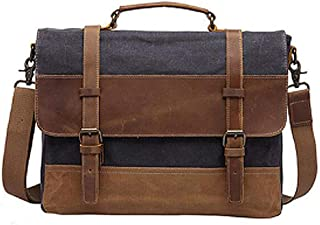 Mens Messenger Bag,Waterproof Canvas Leather Computer Laptop Bag,15.6 Inch Briefcase,Vintage Canvas Bag,Genuine Leather Shoulder Bag(Brown)