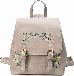 Fashion Mini Floral Color Backpacks Purse for Teen Girls Cute PU Leather Waterproof Small Fashion Designer Backpack for Women (Color : Gray, Size : 24 * 27 * 14cm)