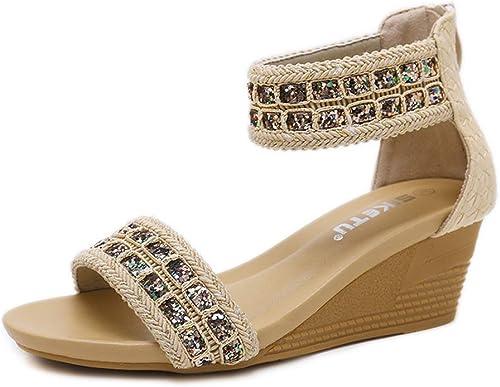 Xuyaowzr Estilo Romano Sandalias Sandalias de Estilo Bohemio con zapatos Romanos cómodos de Gran tamaño