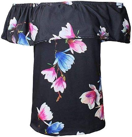 Spinbit Womens Plain Printed Off Shoulder Ruffle Bardot Top Ladies Casual Bandeau Shirt Small//XXX Large