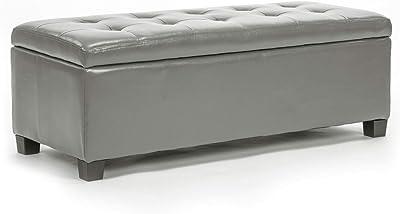 La Bella Storage Ottoman Leather - Grey