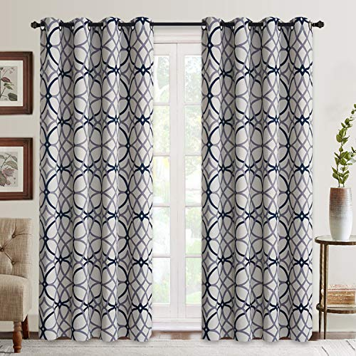Curtains for Living Room, Geometric Pattern Room Darkening Blackout Curtains for Bedroom Thermal Insulated Drapes(Grey and Navy-52 by 84 Inch, 2 Panels)