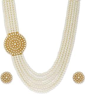 Zaveri Pearls Gold Tone Multi Layered Side Brooch Pearls Long Necklace & Earring Set For Women-ZPFK10262