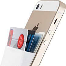 Sinjimoru Card Holder for Back of Phone, Stick on Wallet Functioning as Card Sleeves, Cell Phone Credit Card Holder, Minimallist Wallet Sticker for iPhone. Sinji Pouch Basic 2, White