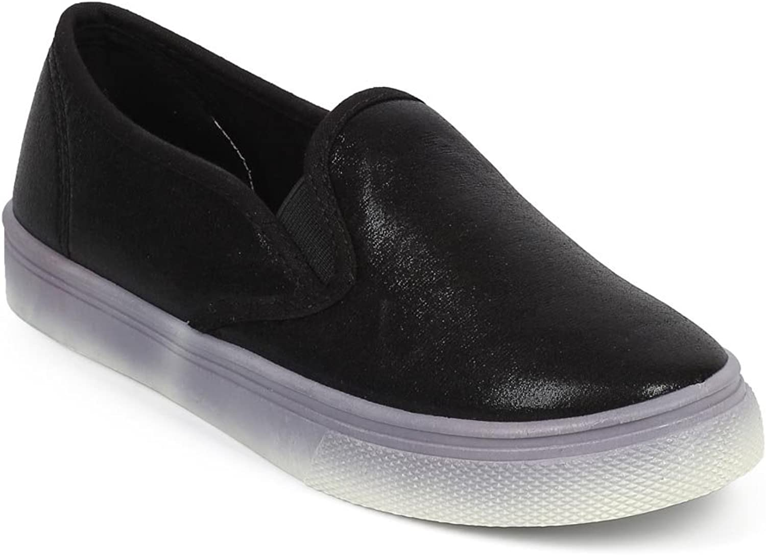 Wild Diva DF42 Women Metallic Shimmer Round Toe Fashion Slip On Sneaker - Black
