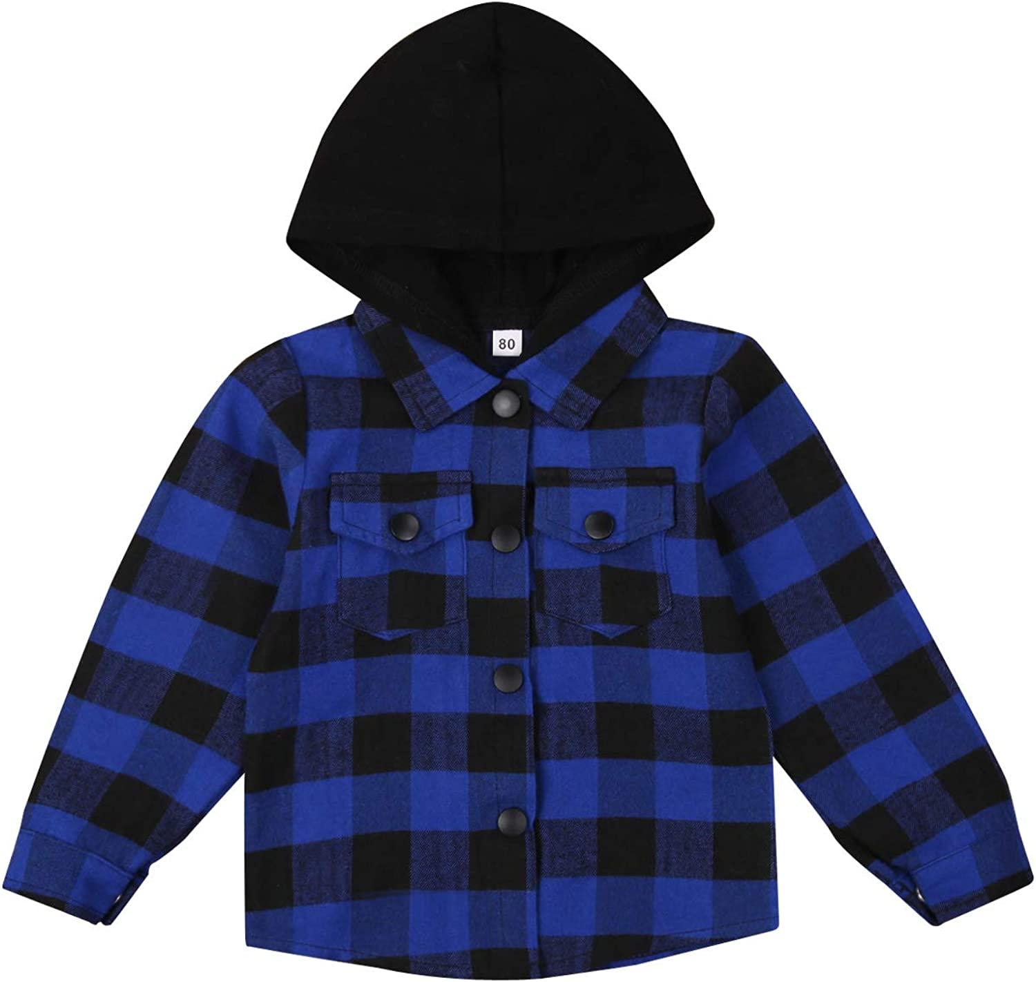 Toddler Baby Boy Hoodies Long Sleeve Button Down Plaid Hooded Shirt Coat Jacket With Pocket Outwear