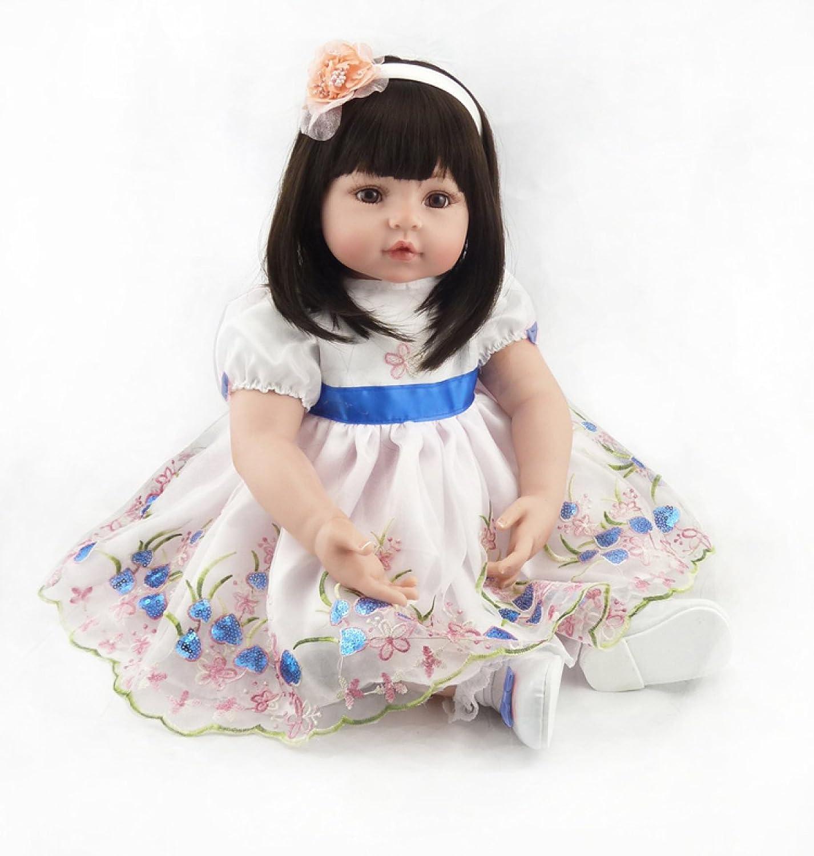 Reborn Baby Dolls Handmade Lifelike Realistic Silicone Vinyl Baby Doll Soft Simulation White Princess Dress 24 Inch 61 Cm Eyes Open Girl Favorite Gift