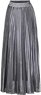 Wine Cup Falda de Ante de Verano para Mujer, Color Dorado y Plateado, a Rayas largas, elástica, Plisada, Falda Mediana clásico