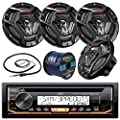 "JVC KD-R97MBS Marine Boat Yacht Radio Stereo CD Player Receiver Bundle Combo with 4X JVC CS-DR6200M 100-Watt 6.5"" 2-Way Coaxial Speakers + Enrock Radio Antenna + 50 Foot 16g Speaker Wire from JVC Enrock"