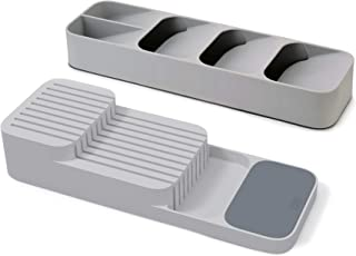 Joseph Joseph 10511 DrawerStore Set Kitchen Drawer Organizer Tray for Cutlery and Knives, Gray