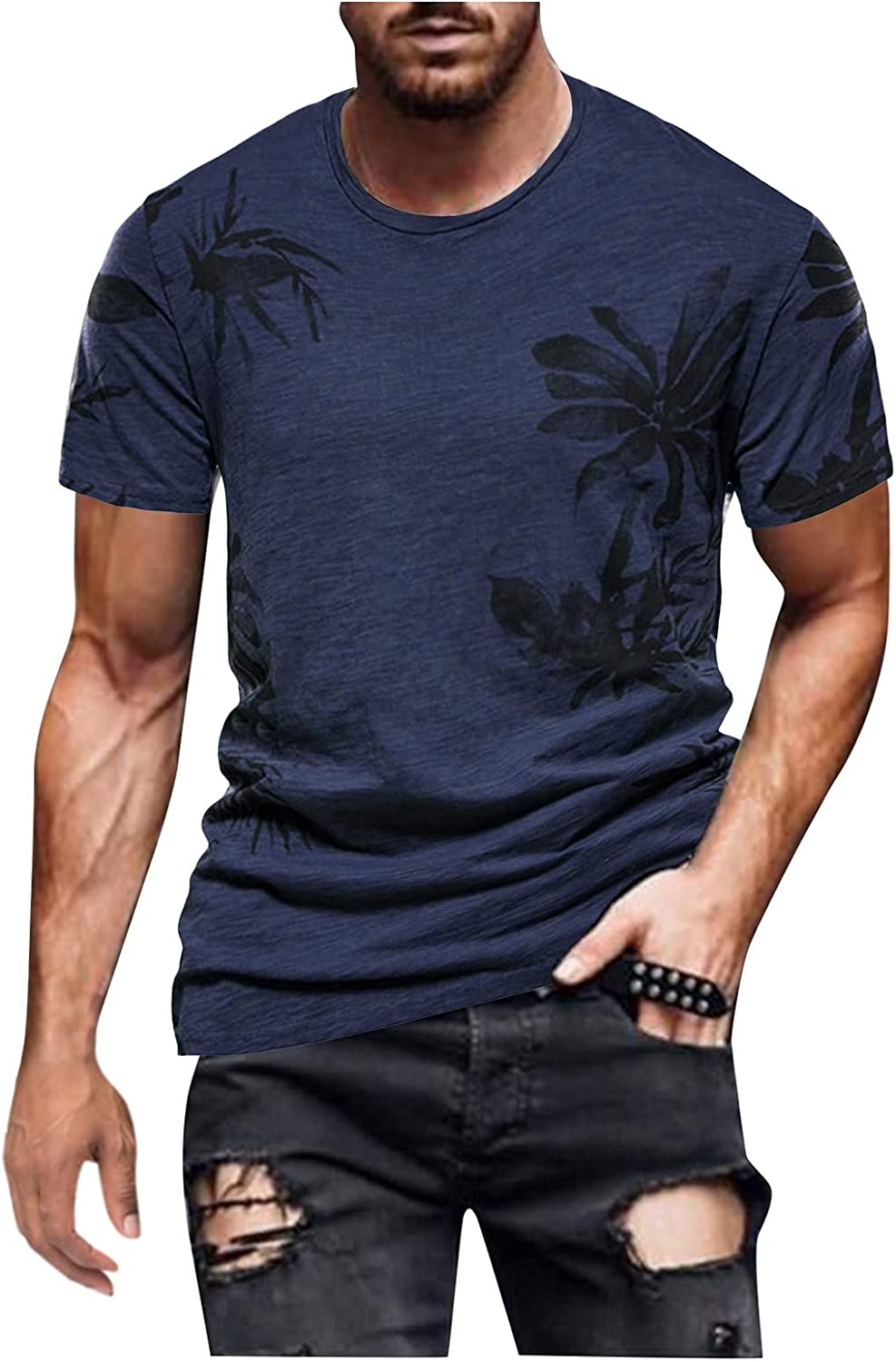 Muscle Shirts for Men Cool Designs Slim Fit Short Sleeved Muscle T Shirt Retro Big and Tall Tops Blouse