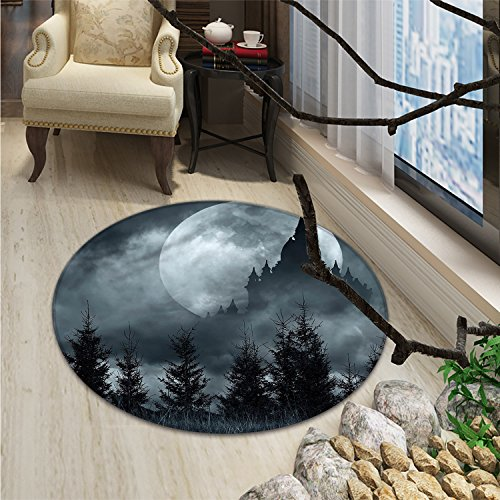 Full Moon Night Scary Forest Floor Round Mat