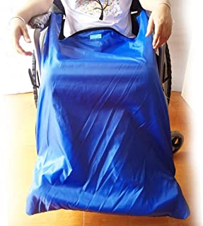 Lightweight Wheelchair Blanket, Waterproof Windproof Outer Cloth & Warm Velvet Lining, with Foot Pockets (Blue),Big