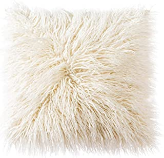 OJIA Deluxe Home Decorative Super Soft Plush Mongolian Faux Fur Throw Pillow Cover Cushion Case (18 x 18 Inch, Light Yellow)