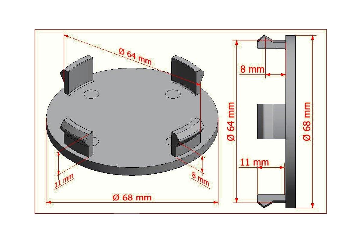 Carbon 4/STK X 68/mm Gris Buje tapas Tapacubos Llanta tapas cilindro de tapa/ /65/mm Di/ámetro interior de Lochs /Apto para llantas con 64,5/