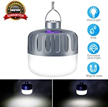 Camping Lights and Lanterns - Portable Outdoor LED Camping Lights Waterproof USB Rechargeable Clip Hooks Hanging Camping Lights for Beach/Camping/Patio/Garden/BBQ