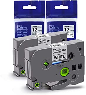 Replace TZ Label Maker Tapes, Ptouch 12mm .47 in Laminated White TZe Cartridge Replacement for Brother P Touch PT290/ PT1880/ PTD200/ PTD210/ pt 2030 Labeler, TZe-2312pk, 26.2 Feet, 2-Pack