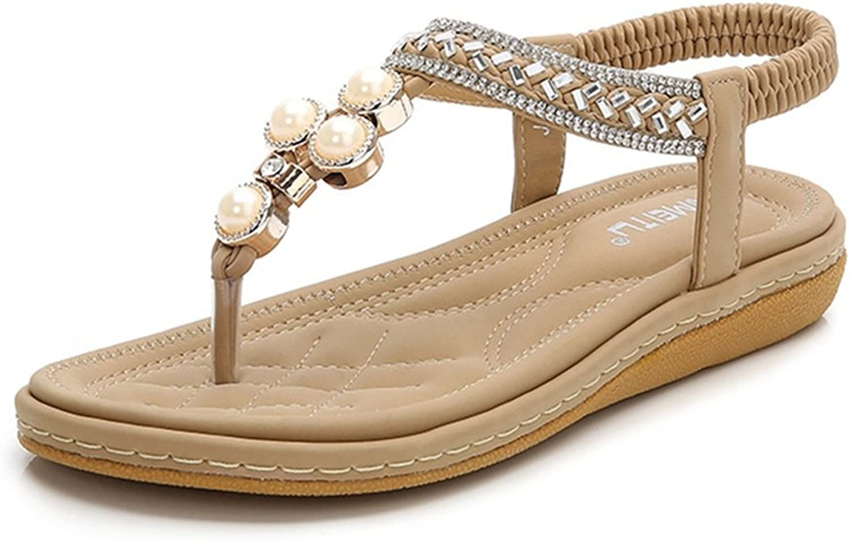 GIY Women's Bohemian Pearl Flat Flip Flops Sandals Rhinestone Comfort Elastic Sparkly Summer Beach Thong
