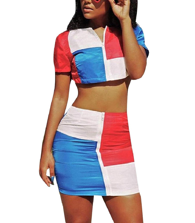 Candiyer 女性ジップショートステッチトップボディーコンスカート2ピースドレスドレス