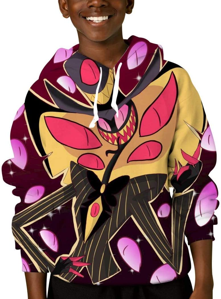 Mmm fight Youth Tops Hooded Hazbin Hotel 13 Hoodies Fashion Sweatshirt for Kids/Boys/Girls