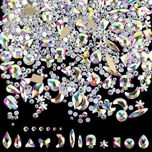1848 Stücke Strasssteine Set, FANDAMEI Glitzersteine Strasssteine Nägel Flache 1728 Gemischte Runde Nailart Strasssteine + 120 Unregelmäßige Forme Schmucksteine, zum Basteln, DIY, Nagelkunst