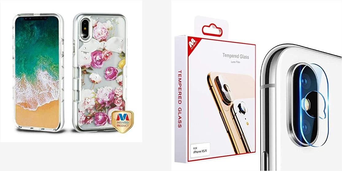 Combo Pack Metallic Silver/Roses Diamante TUFF Panoview Hybrid Protector Cover (with Package) for Apple iPhone Xs/X and Tempered Glass Lens Protector (2.5D) for Apple iPhone Xs/X coxwluji9
