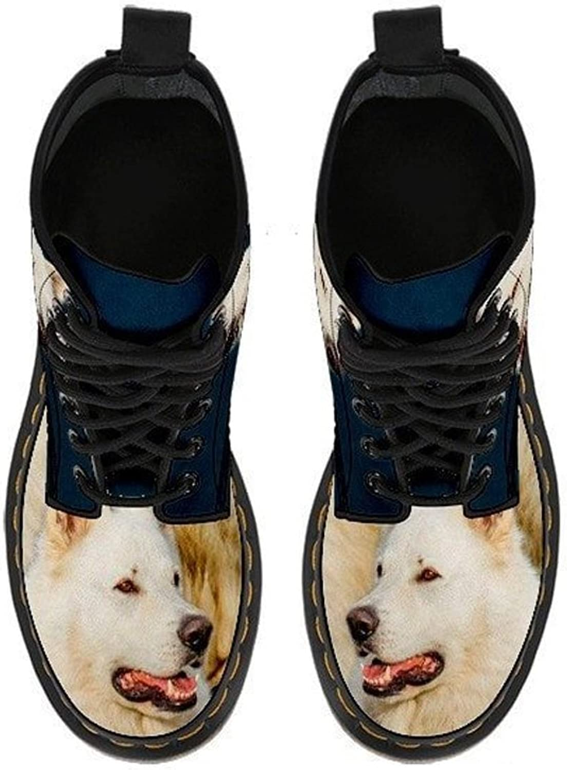 Cute White Shepherd Full Suede Double Side Print Boots for Men