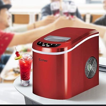 COSTWAY Machine à Glaçons Réservoir 2,2L, 12 kg de Glace/24 h avec 2 Tailles de Glace,9 Galçons par 6-13Min pour Maison,Bureau,Café (Rouge)
