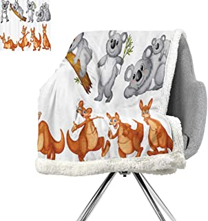 Animal Decor Cozy Flannel Blanket,Australian Baby Kangaroos and Koala Bears in Different Positions Cute Creatures Art Print,Grey Borwn,Print Artwork W59xL78.7 Inch