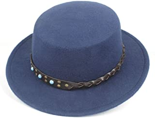 2019 Mens Womens Hats Men Women Flat Top Hat Wide Brim Chuch Hat Autumn Party Chuch Hat Fascinator Hat Wool Polyester Casual Wild Hat Adjustable Fedora Size 56-58CM