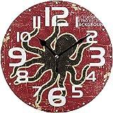 sam-shop Reloj de Cocina Big Abstract Grunge Retro Octopus Silent Vintage Wooden Round Wall Wall Clock