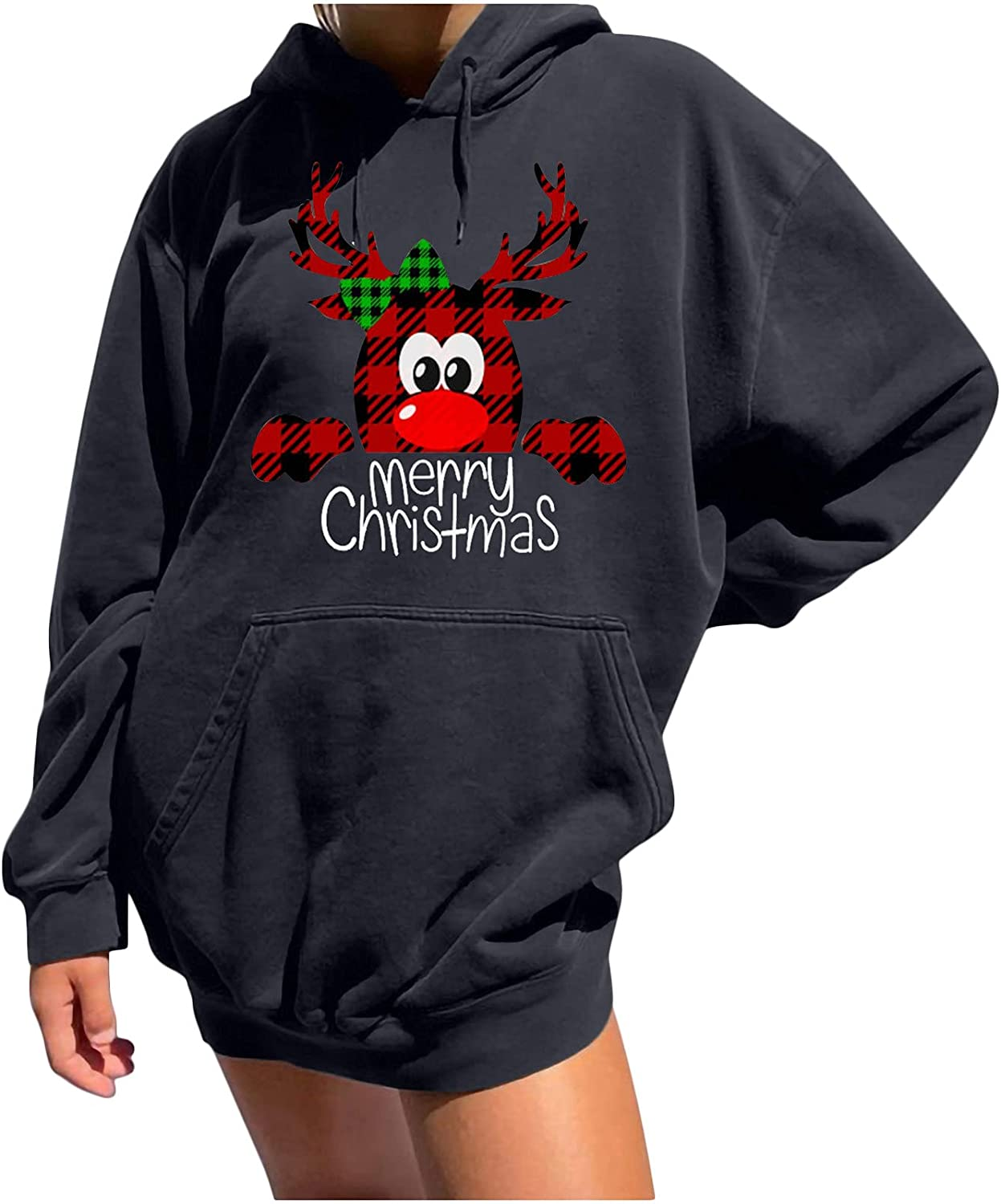 Women Casual Hooded Sweatshirt Christmas Long Sleeve Spring new work one after another Import Printing Ho