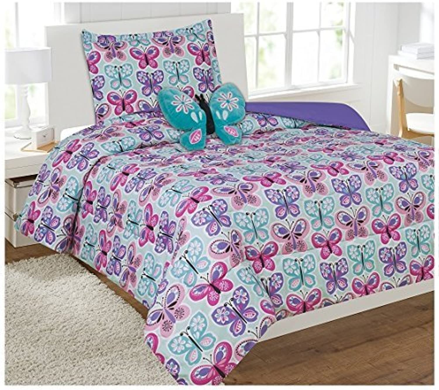 Fancy Linen Collection 6Pc Butterfly Purple bluee Turquoise Comforter Set with Furry Buddy Included Twin Butterfly New