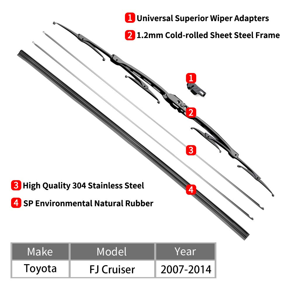 """For Toyota FJ Cruiser Windshield Wiper Blades - 16""""+14""""+14"""" Front Window Wiper - fit 2011-2018 Vehicles - OTUAYAUTO Factory Aftermarket"""