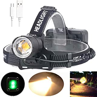 MinChen Yellow Light XHP70.2 Led Headlamp Zoom Adjustable Head Lamp Flashlight USB Rechargeable High Light CREE LED 3 Working Modes Waterproof USB Cable and 3pc 18650 Battery included