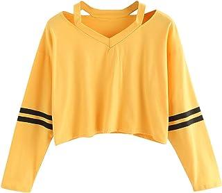Sudaderas Mujer Tumblr Cortas Chica Adolescente Niña - Deportivo Camiseta de Manga Larga con Cuello en V Tops - Modernas R...